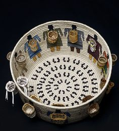 """Best of Show winner is Carol Emarthle-Douglas (Northern Arapaho-Seminole). Her basket entitled, """"Cultural Burdens"""" represents the """"burden"""" of baskets of various tribes in 22 attached miniature baskets."""