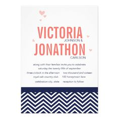 Shop Coral Navy and Pink Zig Zag and Floral Wedding Invitation created by samack. Floral Wedding Invitations, Custom Invitations, Blue Coral Weddings, Celebration City, Coral Navy, Save The Date, Rsvp, Chevrons, Bleu Marine