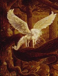 The Mythical Pegasus. There is so much beautiful art having to do with mythical creatures. The human imagination is boundless. Unicorn And Fairies, Unicorn Fantasy, Unicorn Art, Fantasy Art, Magical Creatures, Fantasy Creatures, Pegasus, Dragons, Unicorn Pictures
