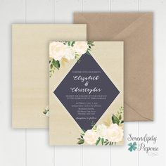Geometrical Greenery Wedding Invitation Ivory and greenery