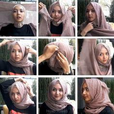 Easy Hijab Style, Simple Hijab, Hijab Casual, Ootd Hijab, Hijab Chic, Hijab Outfit, Square Hijab Tutorial, Hijab Style Tutorial, Habits Musulmans