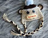 Sock Monkey Newborn Baby Hat, Knit Baby Hat, Baby boy hat, Photography Prop. $30.00, via Etsy.