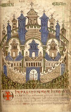 Hierusalem celestis (70 = f°65r) -- «Liber Floridus», Lambertus a S. Audomaro, 1121 [Rijksuniversiteit, Ghent, Ms. 92]