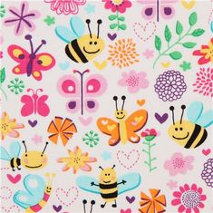 white animal fabric with bee butterfly Michael Miller pink 1