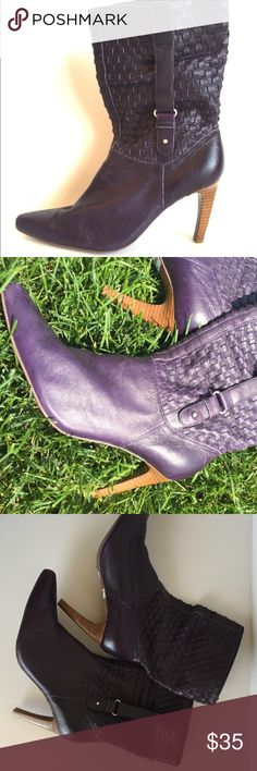 """Fabulous Plum Boots These boots are just fabulous! They feature a leather upper that is a basket weave and a stacked heel. The heel is 3.75"""". NaNa Shoes Heeled Boots"""