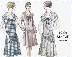 1920s Sewing Pattern - McCall 5155 - Printo Gravure - Misses Morning Dress with 3 Sleeve Variations - Size 40 Bust 40 - Flapper Dress