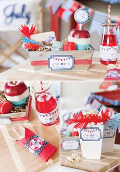 Nautical Party Food Ideas * Galvanized Lunch Boxes -  DIY Chocolate apple, macarons, sandwich, rock candy.