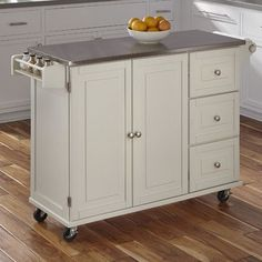 Andover Mills Kuhnhenn Kitchen Island with Stainless Steel Top Base Finish: White