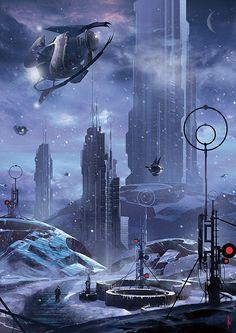 Nouvelle galerie d'illustrations de scènes de Science-Fiction, avec notamment certaines qui rappellent l'univers de BladeRunner ou du 5eme Élément.