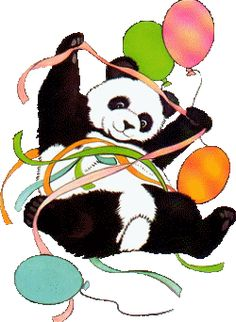 Panda with balloons.  Current printed this design on greeting cards more than twenty years ago.