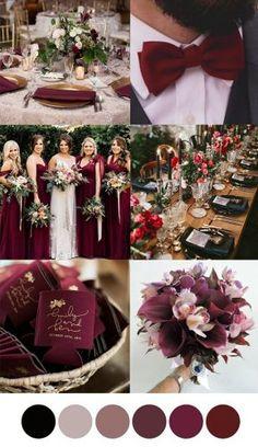 Wedding Color Pallet, Fall Wedding Colors, Wedding Color Schemes, Wedding Themes Red, February Wedding Colors, Wedding Ideas, Elegant Wedding Colors, Red Wedding Decorations, Romantic Wedding Flowers