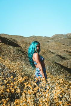 Young Wild & Free ♡♡ Alexa Halladay 》》Lady Scorpio wearing Spell & Gypsy Collective Flower Bandeau and skirt, wanderlust within the wildflowers of California ☥ ᐃ Mermaid Turquoise // Aquamarine Hair by Arctic Fox Hair LadyScorpioblog.com Young Wild Free, Wild And Free, Gypsy Spells, Arctic Fox Hair Color, Wildflowers, Blue Hair, Scorpio, Cool Hairstyles, Mermaid