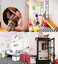 clever joyful kids room- love the stick alphabet-  glass door cabinet perfect for little closet; very elegant in black- an indoor slide is always a plus