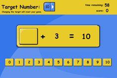 Find the missing numbers to reach a target number in the allotted time. Set the target to 10 and see how many sums pupils can complete correctly in a minute. Great to practise speedy recall of number bonds.  Also, try playing as a class game, with challengers from teams playing at the whiteboard with their team-mates giving advice.
