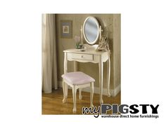 Whitney Vanity, Mirror & Bench - Girls Room Furniture - My Pigsty