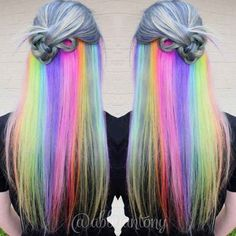 "Hidden Rainbow<<<Someone should use this to come out. Of the closet. Just like dye your hair like this and be like ""Surprise! You thought i dyed my hair some gray? A mix of black and white, like the heterosexual flag? Lol think again- I'm gay as fuck"""