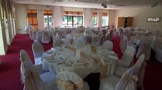 Bagden Hall - Orchard Suite - Lana & Anthony's wedding reception. Linen chair covers with blush taffeta & ivory lace sash