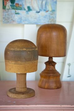"""Vintage hat blocks"" these on a shelf would make very interesting hat stands. -CAB"
