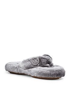 68036655a5ee MICHAEL KORS JET SET MK FAUX FUR SLIPPERS HOUSE SHOES STERLING GRAY ...