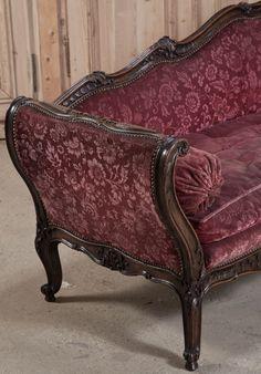 Louis Xv Hand Carved Walnut Salon Sofa With Brocade Upholstery 1890 S Fabric Sofa Sofa Chaise