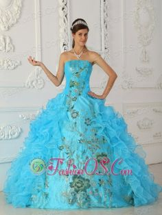 Exquisite Aqua Blue Quinceanera Dress Strapless Embroidery Ball Gown  http://www.facebook.com/quinceaneradress.fashionos.us  http://www.youtube.com/user/fashionoscom?feature=mhee   You will be the queen at the party with this classic quinceanera gown. The design is inspired by the idea of chinese embroidery, the ball gown skirt features a slit in the front, the rest is adorned with layers of organza ruffle.