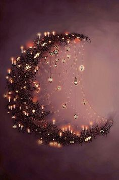 Moon and the stars.want to make some form of a crescent moon with sparkling~dangling stars. Moon Art, Moon Child, Belle Photo, Fairy Lights, Illustration Art, Artsy, Drawings, Creative, Sweet Dreams