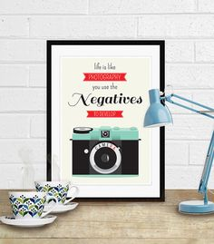 Printable art with a cute retro camera and the quote: 'life is like photography, you need the negatives to develop'. So true! by ByWilmaPrintables, $5.00 #printable #art #quote #retro #print #poster
