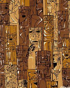 Tiki barkcloth Tiki Hawaii, Hawaiian Tiki, Tiki Art, Tiki Tiki, Hawaiian Designs, Tiki Lounge, Vintage Tiki, Homemade Art, Tiki Torches