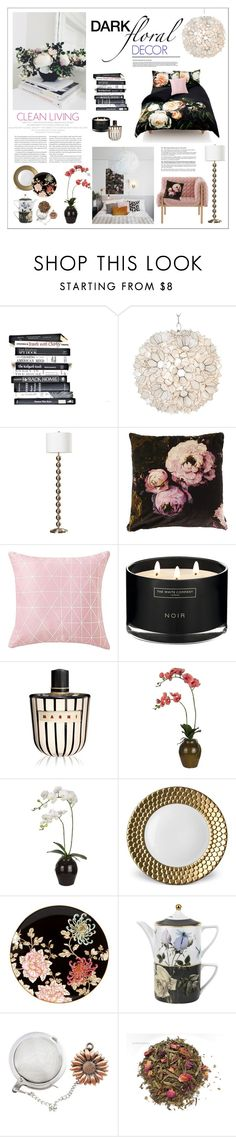 """Dark Floral Decor"" by watereverysunday on Polyvore featuring interior, interiors, interior design, home, home decor, interior decorating, Elle, Worlds Away, Boho & Co and The White Company"