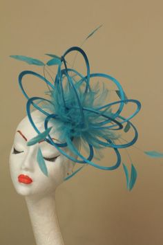 New Turquoise loop feather Fascinator Hat wedding races