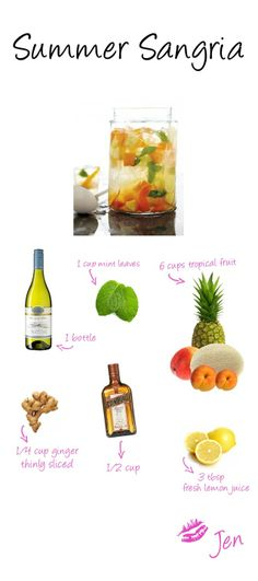 As soon as the weather starts to warm up again I instantly reach for my sangria pitcher. Check out {what I think to be} the best recipe for sangria ever! This sangria has a tropical side which ma. Best Sangria Recipe, Sangria Recipes, Drink Recipes, Summer Sangria, Summer Drinks, Good Food, Yummy Food, Tasty, Fruit Cups
