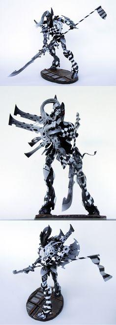 Harlequin Wraith Knight - black and white detailing, guardian of Blqck Library… Eldar 40k, Warhammer Eldar, Dark Eldar, Warhammer Models, Imperial Knight, Pandora Collection, Tyranids, Warhammer 40k Miniatures, Games Worshop