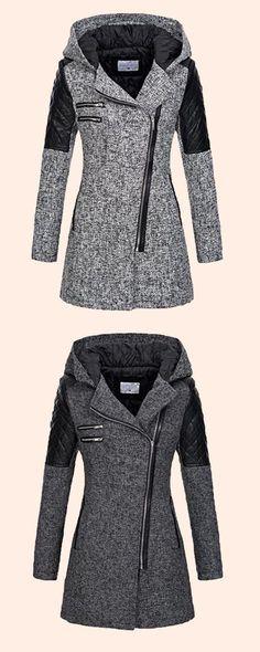 Zipper Slim Mid-Length Hooded Jacket