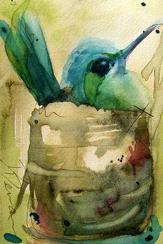 Hummingbird Nesting Watercolor Blue Green Brown