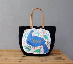 The Tampella Tote  Vintage bird printed Cotton with by StarBags