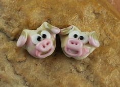 Lampwork Beads, Glass Beads, Camo Pink Pig, Earring Beads SRA #324 by CC Design