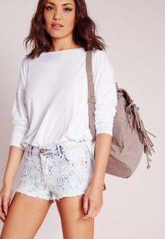 Lace Front Denim Shorts Blue