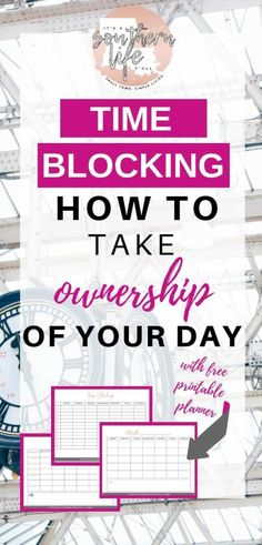 Time Blocking how to take ownership of your day and have better time management and productivity. Make your days more productive by implementing this time management tip. Block scheduling really helps with planning your day and tackling that to-do list.