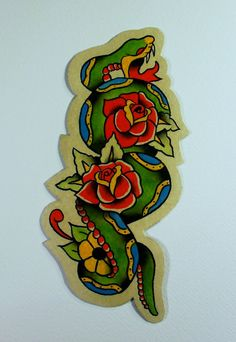 Traditional American Tattoo Style Original  Snake and Roses Watercolor Painting Magnet via Etsy