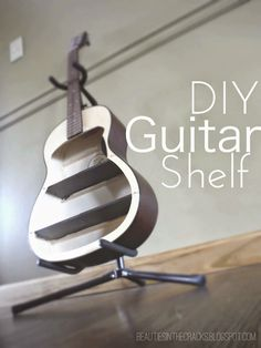 I love the idea taking a broken guitar and turning into a shelf! Great DIY