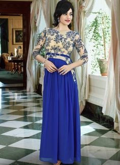 Royal Blue Colour Georgette Fabric Party Wear Gown Comes with matching blouse. This Gown Is crafted with Lace Work This Gown Comes As a Semi stitched Which Can Be Stitched Up to Size Party Wear Gowns Online, Evening Gowns Online, Wedding Wear, Wedding Gowns, Indowestern Gowns, Stylish Gown, Traditional Gowns, Gown Suit, Blue Gown