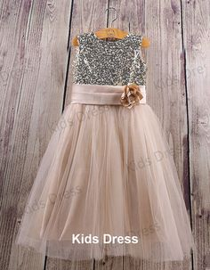 Flower girl.   A-line Scoop Tulle Flower Girl Dress With Gold Sequins on Etsy, $37.00