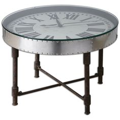 Coffee Cocktail End Clock Table  Accent Living Room Family Room Den Office New