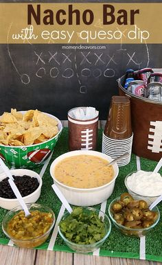 Build Your Own Nacho Bar with easy 2-ingredient queso dip recipe! #QuesoforAll (sponsored) Football Party Foods, Football Birthday, Football Food, Football Tailgate, Superbowl Party Food Ideas, Football Party Decorations, Tailgating Ideas, 49ers Birthday Party, Kids Football Parties