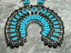 Safety Pin Turquoise Squash Blossom Necklace by LadyGlitter, $35.00