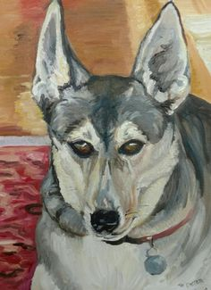 My son Darren's dog Jake, a mixed breed of husky and Pharaoh hound! The best dog ever, runs like the wind, doesn't bark or jump up on people and is a true lover!!! Oil on panel. I can paint your pet too!! Teddijann@gmail.com