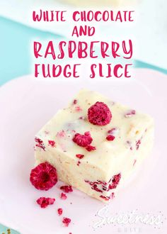 White Chocolate and Raspberry Fudge Slice ~ Smooth and fudgy, crunchy and sweet, with a tart raspberry pop that makes it hard to stop at just one slice! Dairy Free White Chocolate, White Chocolate Raspberry, Easy Desserts, Delicious Desserts, Dessert Recipes, No Bake Slices, Homemade Vanilla Extract, Raspberry Recipes, Homemade Sweets