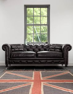 Black Vintage Leather 3 Seater Chesterfield (Rose & Grey) Love It