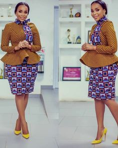 ankara stil This beautiful outfit is handmade with love to fit buyer's exact measurements. * It includes a flared top with long sleeve * knee length skirt * fully lined It takes busin Latest Ankara Dresses, Ankara Dress Styles, Latest African Fashion Dresses, African Dresses For Women, African Print Dresses, African Print Fashion, African Attire, African Wear, Blouse Styles