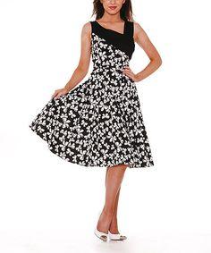 Look what I found on #zulily! Black & White Bow Swing Dress - Women & Plus #zulilyfinds